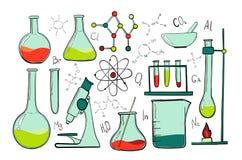 Laboranckiego wyposażenia koloru set Nauki chemia Mikroskop, Szklane kolby i próbne tubki, chemiczni eksperymenty Zdjęcie Royalty Free