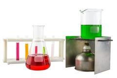 Laboranckiego wyposażenia próbna tubka i alkohol lampa, próbna tubka Fotografia Stock