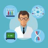 Laboratório da experiência do cientista médico do caráter ilustração royalty free