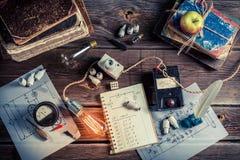 Laboratório de física do vintage fotografia de stock