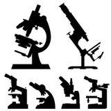 Laboratório médico do microscópio ajustado - ilustração do vetor Fotos de Stock
