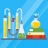 Laboratório químico com livro Fotos de Stock