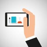Laboratoire d'équipement de smartphone de prise de main Images libres de droits