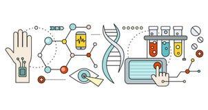 Laboratorio con DNA umano Concetto scientifico illustrazione di stock