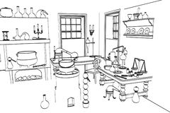 Laboratorio de la alquimia ilustración del vector