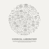 Laboratorio de la sustancia química del cartel del círculo Imagen de archivo libre de regalías