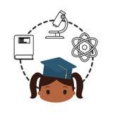 Laboratorio de química de la escuela de la graduación del casquillo de la muchacha de la historieta libre illustration