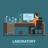 Laboratorio di scienza piano di vettore: posto di lavoro del tecnico di laboratorio, prodotto chimico Fotografia Stock