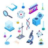 Laboratorio di scienza, simboli isometrici di vettore 3d di ricerca in chimica Insieme piano isolato delle icone Raccolta dell'at illustrazione vettoriale