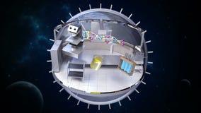 Laboratorio di scienze in sfera girante illustrazione vettoriale