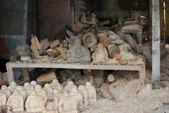 Laboratorio di scultura di legno in Ubud Fotografie Stock Libere da Diritti