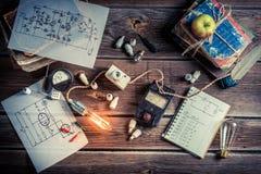 Laboratorio eléctrico del vintage Imágenes de archivo libres de regalías
