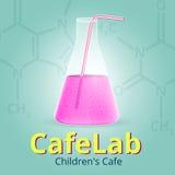 Laboratorio Logo Template del caffè L'icona per il gioco o l'applicazione Illustrazione di vettore Fotografie Stock