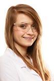Laboratorio Mujer del químico en los vidrios de las gafas aislados Fotos de archivo