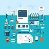 Laboratorio plano del estilo del espacio de trabajo del laboratorio de investigación de la tecnología de la ciencia ilustración del vector