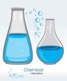 Laboratorio químico label stock de ilustración