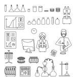 Laboratorium badawczego wyposażenia wektoru linii ikony ustawiać royalty ilustracja