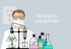 laboratorium chemiczny badanie Płaski projekt Obraz Royalty Free