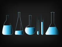 Laboratorium naukowe butelki z cieczami Obrazy Stock