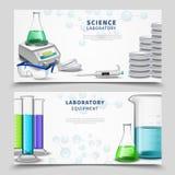 Laboratorium Naukowego wyposażenia sztandary ilustracja wektor