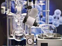 Laboratorium roterende evaporator voor chemie stock afbeelding