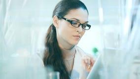 Laboratoriumarbeider die de inhoud van fles controleren stock videobeelden