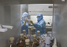 Laboratoriumarbeiders in beschermende kleding, het werk op cultuurmiddel, Polen, 01 2013 royalty-vrije stock foto's