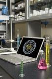laboratoriumbärbar dator Arkivbild