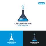 Laboratoriumembleem/Zaken Logo Idea van het Pictogram de Vectorontwerp Royalty-vrije Stock Foto's