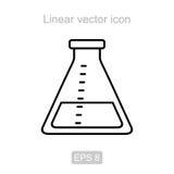 Laboratoriumfles Lineair vectorpictogram Stock Foto's
