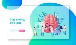 LaboratoriumforskareGroup Study Human hjärna och psykologilandningsida Medicinsk forskningmikroskop HuvudTomographydiagnostik vektor illustrationer