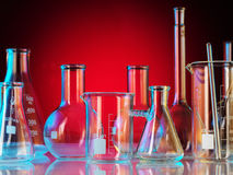 Laboratoriumglasföremål Arkivbilder