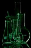 Laboratoriumglaswerk voor vloeistoffen Royalty-vrije Stock Foto's