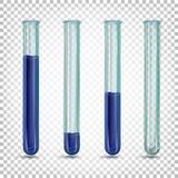 Laboratoriumglazen buizen met een donkerblauwe vloeistof van verschillende bedragen royalty-vrije illustratie