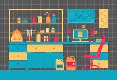 Laboratoriuminre Arbetsplatslaboratorium Biologiskt, medicinskt eller kemiskt laboratorium vektor illustrationer