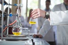 Laboratoriummateriaal voor distillatie Het scheiden van de componentensubstanties van vloeibaar mengsel met verdamping en condens Stock Afbeeldingen