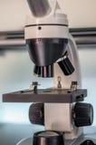 Laboratoriummikroskop backlit på blått ljus Arkivfoton