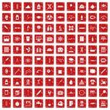 100 laboratoriumpictogrammen geplaatst grunge rood Royalty-vrije Stock Afbeeldingen