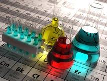 Laboratoriumprovrör och flaskor med kulöra flytande på per stock illustrationer