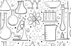Laboratoriumutrustning skissar den sömlösa modellen Vetenskapskemi Mikroskop, Glass flaskor och provrör kemikalie vektor illustrationer