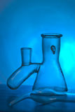 In laboratory. Laboratory flasks close up in different combinations Royalty Free Stock Images
