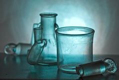 In laboratory. Laboratory flasks close up in different combinations Royalty Free Stock Image