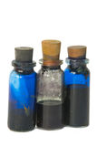 From laboratory. Flasks with liquids close up on a white background stock images