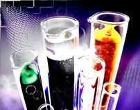 Laboratory. Image 3d test-tubes with liquid stock illustration