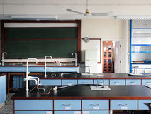 Laboratory. Interior of old fashioned chemistry laboratory in high school Royalty Free Stock Photo