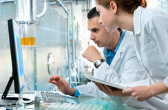 Laboratory. Scientists working at the laboratory Stock Images