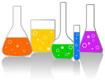 Laboratory. With glassware with colorful chemicals Stock Photo