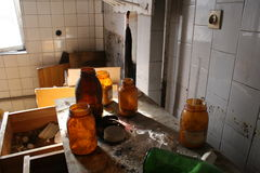 Laboratory-Abandoned factory. Abandoned and very devastated factory stock photos