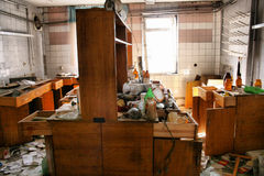 Laboratory. Abandoned and very devastated factory royalty free stock photography