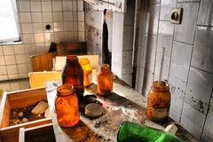 Laboratory. Abandoned and very devastated factory stock image